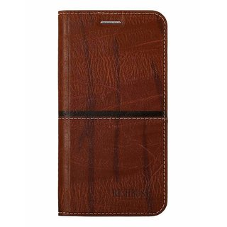 Synthetic Leather Flip Cover Case for  Samsung Galaxy On Max   DARK BROWN