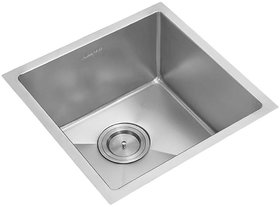 Anupam Stainless Steel Sink PS745SX (460 x 405 x 225 mm / 18 x 16 x 9 inch) Single Square Bowl 304 Grade, Satin Finish