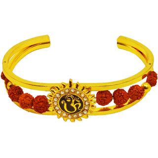Sullery Special Cubic Om Yoga Half Kada Elegant Premium Rudraksha cuff  Brown  Gold  Brass  Wood  Kada