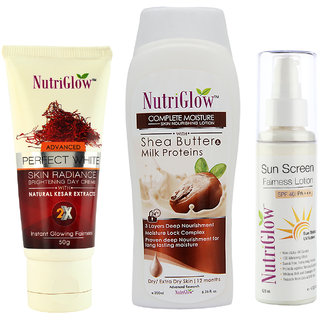 Set of 1 Sheabutter moisture + 1 Perfect white skin radiance day cream + 1 Sunscreen fairness lotion