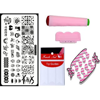 Royalkart Nail Art Kit With 1 Stamping Image Plate(XY-COCO3) Stamper Scraper Finger Tip Guide and Finger Rest