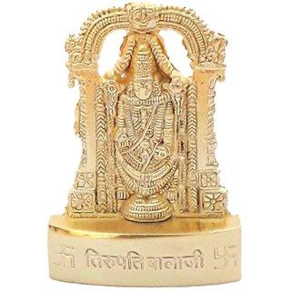 Gifts  Decor Zinc Gold Plated Tirupati Balaji Idol (7 cm x 4.5 cm x 1 cm, Gold)