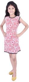 AMMANYA Girls Cotton Printed A-line Knee Length Red Dress