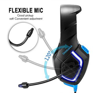ONIKUMA K1 PC Gaming Headset 3.5mm Stereo USB LED Headphones with Microphone Volume Control Blue for PS4 New XBOX ONE Computer PC V3862BL Blue