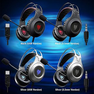 NUBWO N2 USB Wired Gaming Headset Over-Ear Stereo PC Headphones Deep Bass Earphone with Microphone Volume Control LED Light for V4244S-2 Silver ...