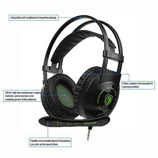 SADES SA-801 3.5mm Gaming Headsets with Microphone Over Ear Music Headphones Volume Control Black-green for PS4 New Xbox One Laptop V3139  ...