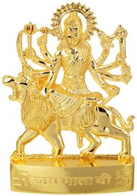 Gifts  Decor Zinc Gold Plated Goddess Maa Durga Idol (7 cm x 4.5 cm x 1 cm, Gold)