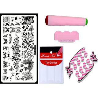 Royalkart Nail Art Kit With 1 Stamping Image Plate(XY-COCO5) Stamper Scraper Finger Tip Guide and Finger Rest