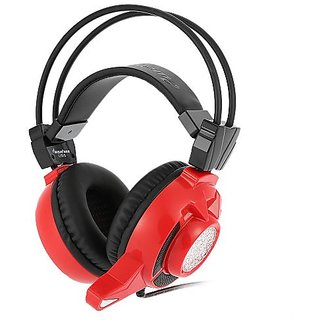 ewave LY810 3.5mm Gaming Headset Over Ear Stereo Game Headphone Noise Cancellation Headband with Mic Volume Control Colorful LED V2466R red ...