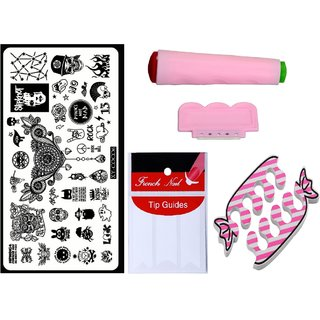 Royalkart Nail Art Kit With 1 Stamping Image Plate(XY-COCO6) Stamper Scraper Finger Tip Guide and Finger Rest