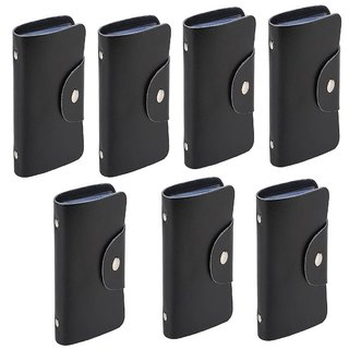 Divyazon Beautiful India Mens Black PVC Leather Card Holder Pack of 7 (10 Card Slots)
