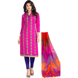 Swaron Pink Cotton Zari And Thread Embroidery Unstitched Dress Material