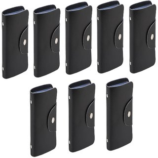 Divyazon Beautiful India Mens Black PVC Leather Card Holder Pack of 8 (10 Card Slots)