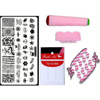 Royalkart Nail Art Kit With 1 Stamping Image Plate(XY-COCO8), Stamper, Scraper, Finger Tip Guide and Finger Rest