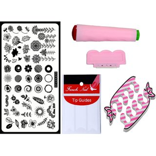 Royalkart Nail Art Kit With 1 Stamping Image Plate(XY-COCO10) Stamper Scraper Finger Tip Guide and Finger Rest