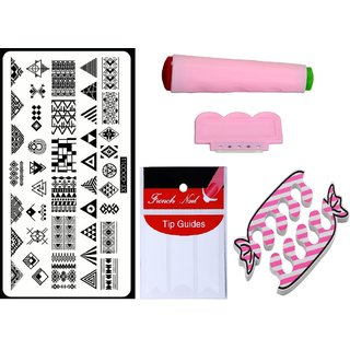 Royalkart Nail Art Kit With 1 Stamping Image Plate(XY-COCO11) Stamper Scraper Finger Tip Guide and Finger Rest
