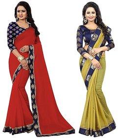 Pari Designerr Multicolor Chanderi Cotton Combo Saree(JACKREDHATHIMEHNDI)