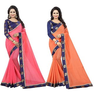 Pari Designerr Pink White Peach Chanderi Cotton Saree Combo of 2