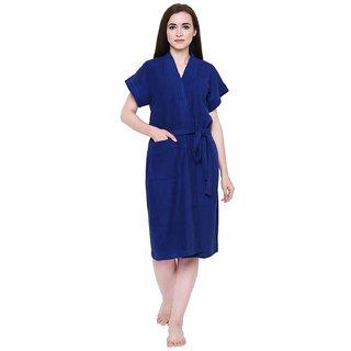 Modern Girl Navy Blue Bathrobe-(Towel Fabric)