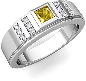 RM Jewellers 92.5 Sterling Silver American Diamond Stylish Awesome Ring for Men