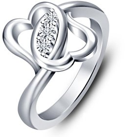 RM Jewellers 92.5 Sterling Silver American Diamond Best Design Heart Ring for Women