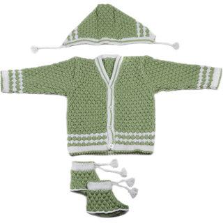 Desi mart Baby Vardhman Woolen Knitted Sweater Set for Infants Unisex 3 Pieces