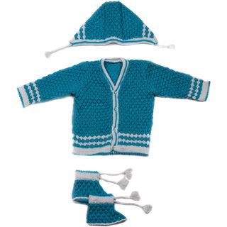Desi mart Baby Vardhman Woolen Knitted Sweater Set for Infants Unisex 3 Pieces.