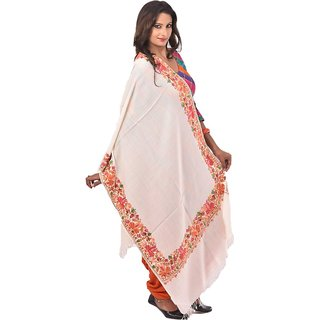 Kashmiri Womens White Aari Embroided Bordered Shawl