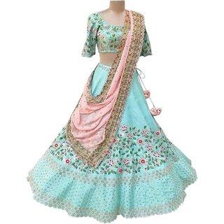 Sky Blue New Lehnga Choli Latest Stylis Bollywood Lehenga For festival-party-wedding