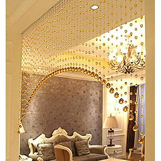 D4P 3 Feet Acrylic Crystal Plastic Strings Bead Hanging Curtain (Set of 10 String)(Golden)