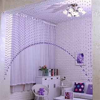 D4P 3 Feet Acrylic Crystal Plastic Strings Bead Hanging Curtain (Set of 10 String)(Purple)