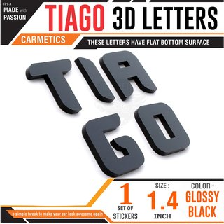 CarMetics TIAGO 3d letters logo emblem accessories bonnet stickers Chrome  for Tata Tiago Glossy Black 1 Set