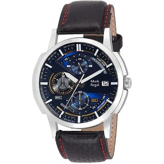 Mark Regal Round Black and Blue Dail Black Leather StrapMens Quartz Watch For Men
