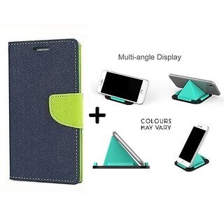 Flip Case for Micromax Canvas Play Q355  / Micromax Q355  ( BLUE ) With Multi-Angle Pyramids Shape Phone Holder