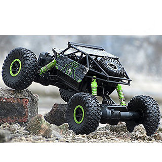 Rechargeable Rock Crawler 4WD 2.4 Ghz 4x4 Rally Car RC Monster Truck Kids Play Toys (Green)