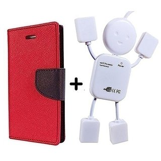 Flip Case for Reliance Lyf Flame 2  / Reliance  Flame 2  ( RED ) With Usb Hub