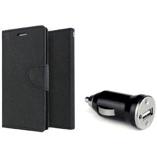 Flip Case for Motorola Moto G4 / G4 Plus  /  Moto G4 Plus  ( BLACK )  With CAR ADAPTER