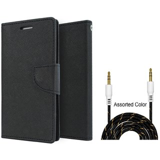 Flip Case for Samsung Galaxy J6 / SASMUNG J6   ( BLACK ) With Fabric Universal AUX Cable-1 Meter (Color May vary)