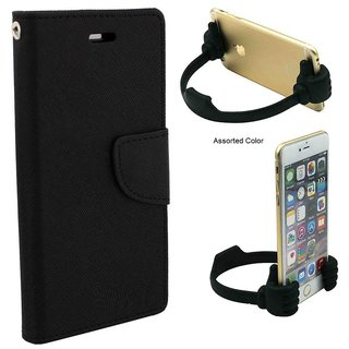 Flip Case for Micromax Canvas Pep Q371  / Micromax Q371  ( BLACK ) With Universal Portable Mobile OK Stand