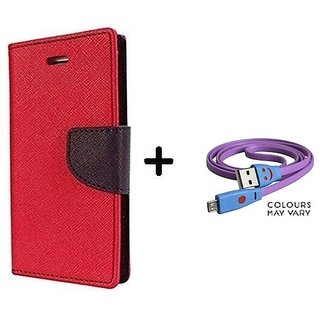 Flip Case for Coolpad Note 3 Lite    ( RED ) With Micro SMILEY USB CABLE