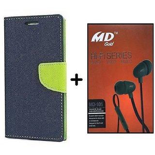 Flip Case for HTC Desire 526  / HTC  526  ( BLUE ) With Earphone(BRN50B)