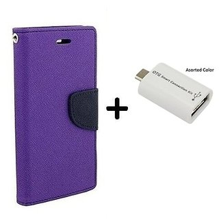 Flip Case for Samsung Galaxy S6  / Samsung S6  ( PURPLE ) With Micro OTG SMART