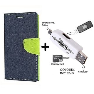Flip Case for Microsoft Lumia 540  / Nokia 540  ( BLUE ) With Card Reader kit to Attach Pendrive & Card Reader