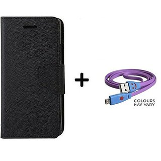 Flip Case for HTC Desire 516  / HTC  516  ( BLACK ) With Micro SMILEY USB CABLE
