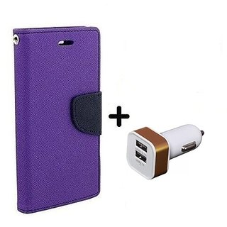Flip Case for Lenovo A7000    ( PURPLE ) With 2 Port Car Adapter(CR350A)