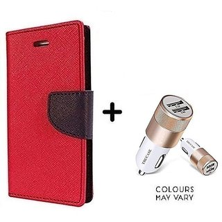 Flip Case for Reliance Lyf Earth 1  / Reliance  Earth 1  ( RED ) With Dual USB car Charger (CR750ADP)