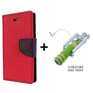 Flip Case for Micromax Canvas A1  / Micromax A1  ( RED ) With Mini Selfie Stick(Color May Vary)
