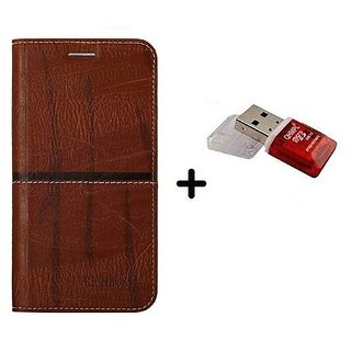 back Flip Cover For  Huawei Honor 7X (DARK BROWN) With Quantum Micro SD Card Reader