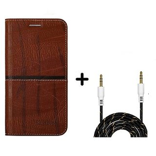 back Flip Cover For  Huawei Honor 6X (DARK BROWN) With Fabric Aux Cable