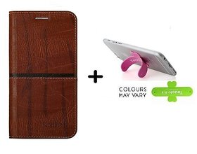back Flip Cover For  vivo Y69 (DARK BROWN) With One Touch Mobile Stand